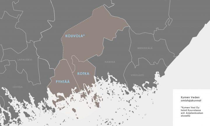 Kymen veden toiminta-alueet Kotka, Kouvola ja Pyhtää kartalle merkittyinä.