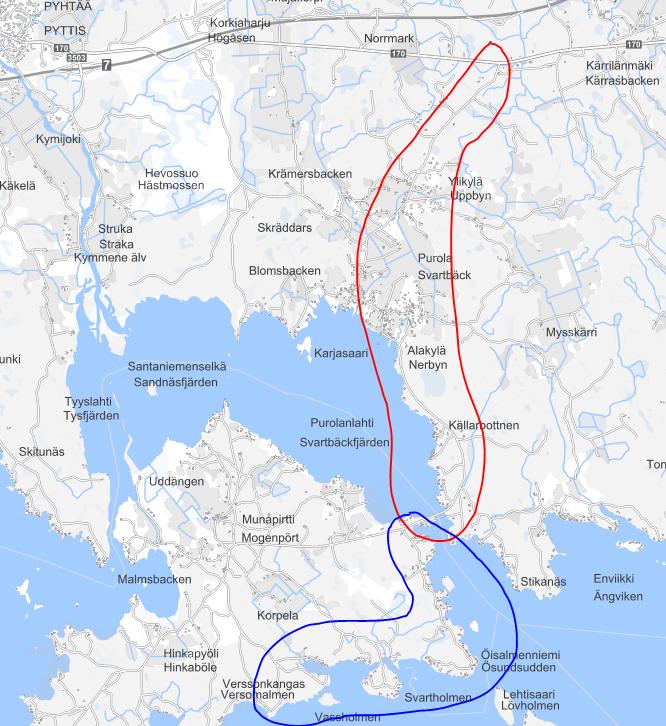 Kuvassa on hankkeen työmaa-alue kartalla. Siirtolinja: Ylikylä, Purola, Alakylä, Källarbottnen. Vesihuolto: Öisalmenniemi, Svartholmen, Vaseholmen, Verssonkangas.
