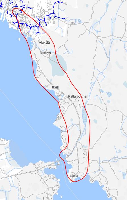 Suunnitelma-alue kartalla kuvattuna. Alue alkaa Purolan kylältä, Purolantien ja Alakyläntien risteyksen läheltä ja päättyy Keihässalmeen Kalanjalostamon alueelle.