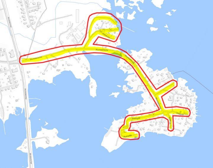 Kuvassa on hankkeen työmaa-alue kartalla: Munsaari ja Sikosaari.